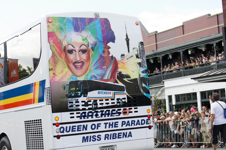 A bus at the 2013 Auckland Pride Parade depicting the legendary Miss Ribena