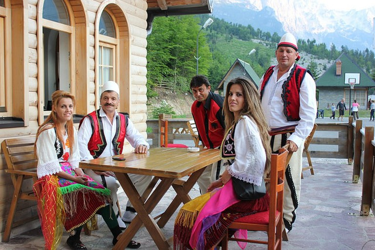Albanians dressed in traditional clothing