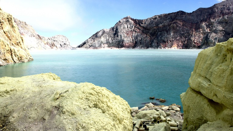 The acid Ijen crater lake