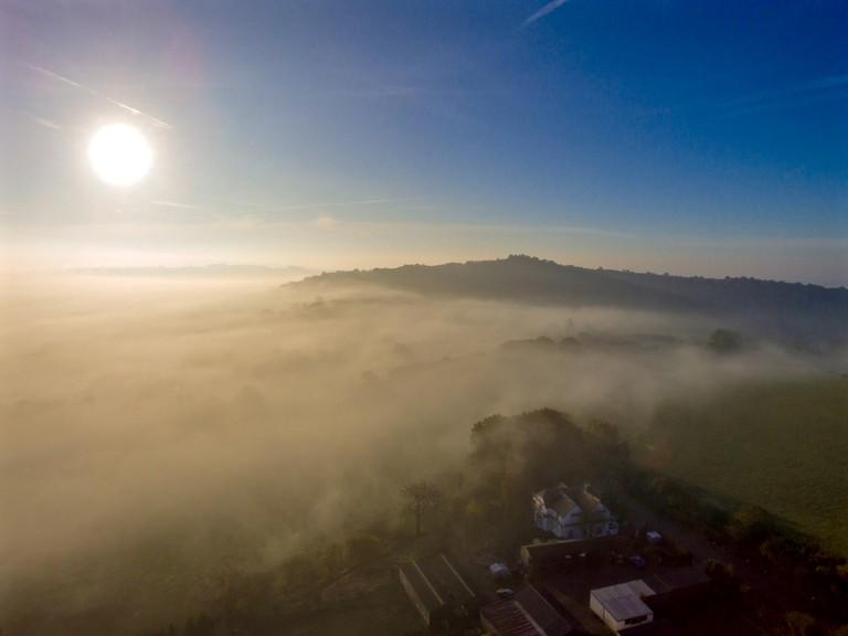 A foggy Clent Hills