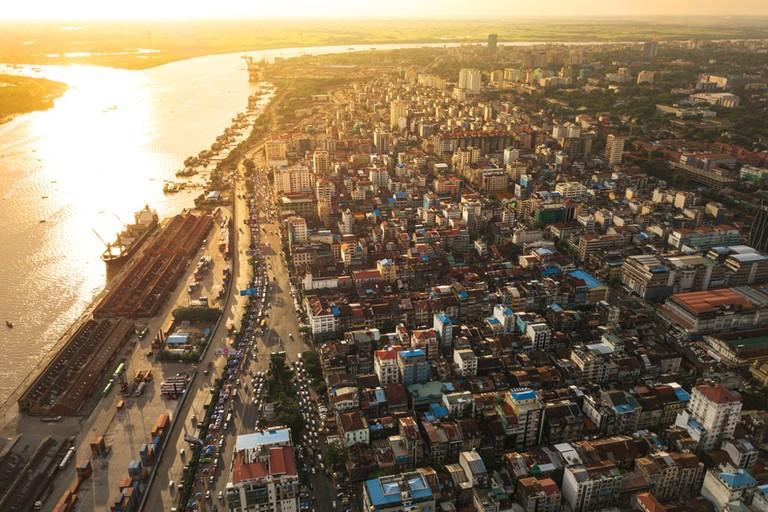 Aerial-View-of-Downtown-Yangon-Myanmar