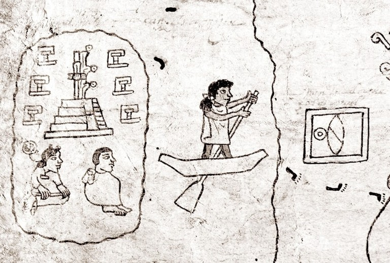 Depiction of Aztlán in the Boturini Codex