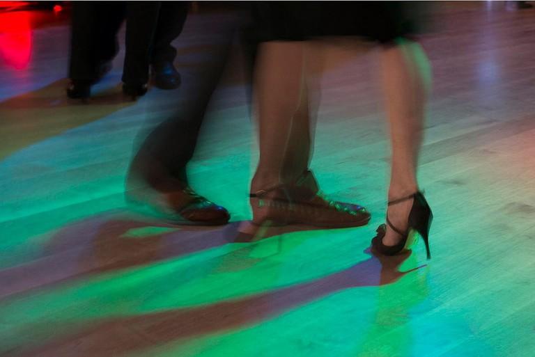 Tango dancers at a milonga