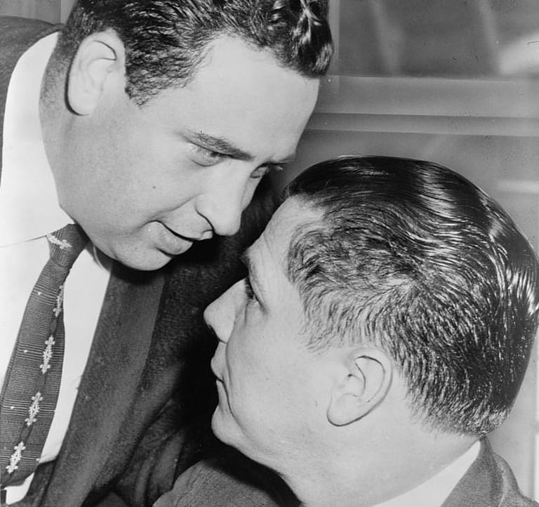 Jimmy Hoffa (right) in court in 1957