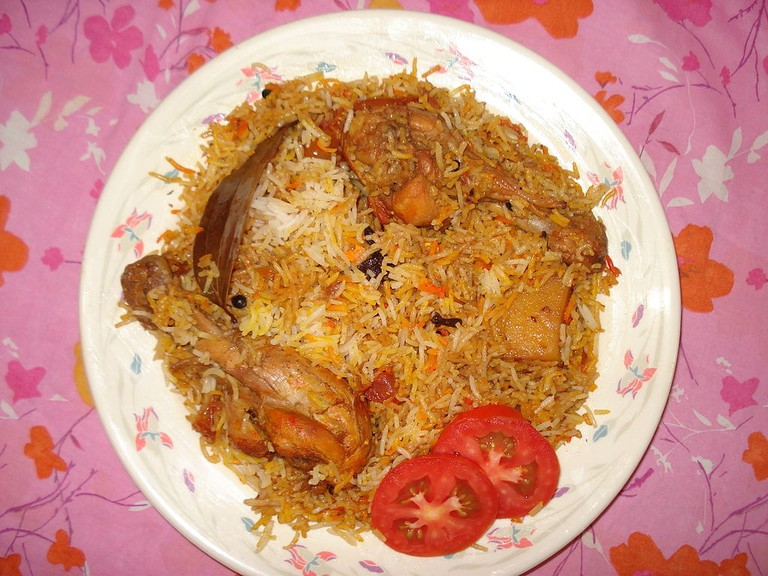 Bombay biryani uses kewra water and dried plums for a distinctive taste