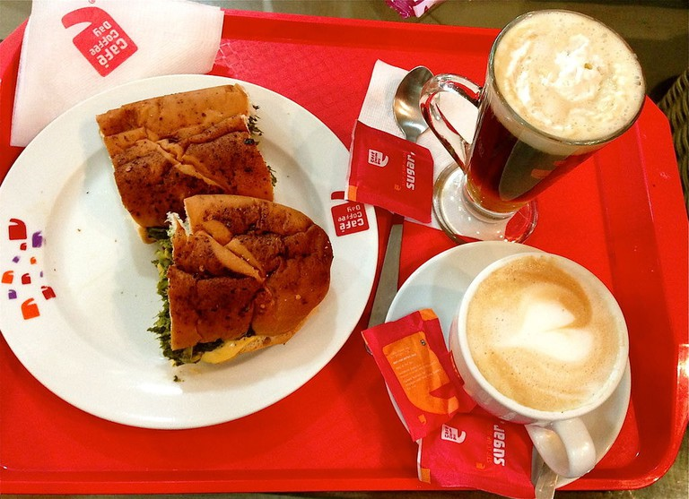 Sandwich and coffee at Café Coffee Day