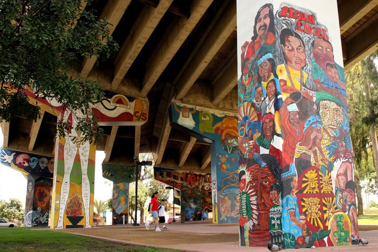 Chicano Park where Victor Ochoa has painted numerous murals