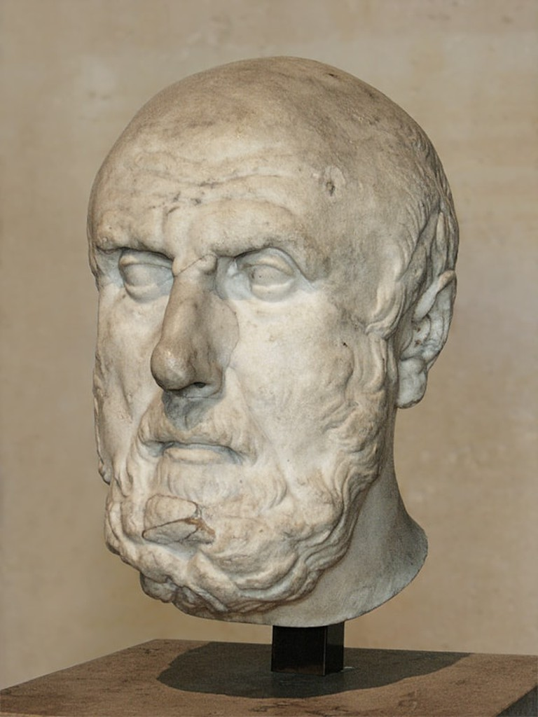 Portrait of Chrysippus of Soli, Greek stoic philosopher. Marble, Roman copy of the Imperial Period (2nd century CE) after a Greek Hellenistic original.