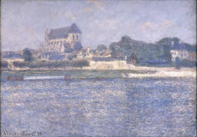 A dreamy rendition of the church in Vernon in Claude Monet's La collégiale Notre-Dame de Vernon