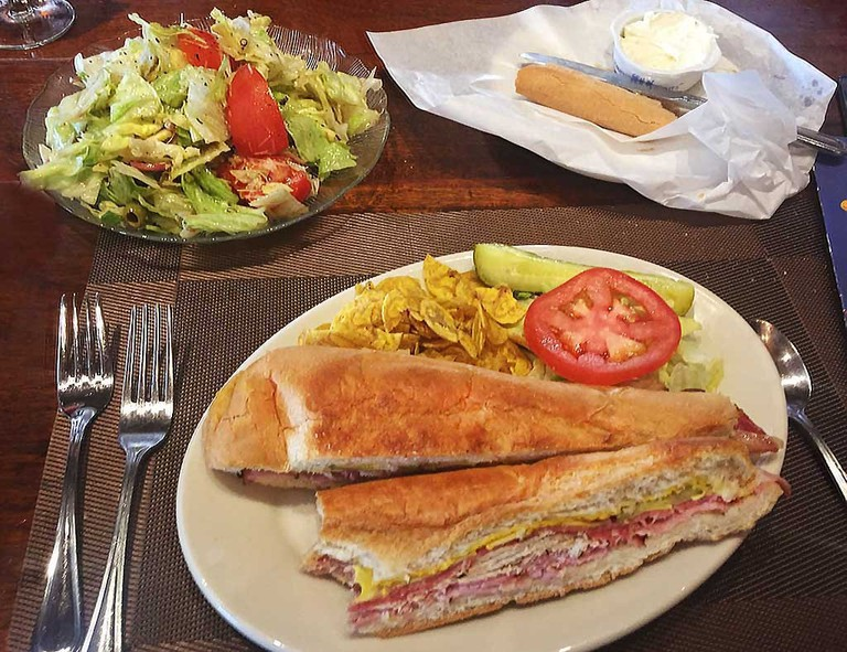 "Columbia Restaurant Famous Dishes: Original ""1905"" Salad and the Original Cuban Sandwich"
