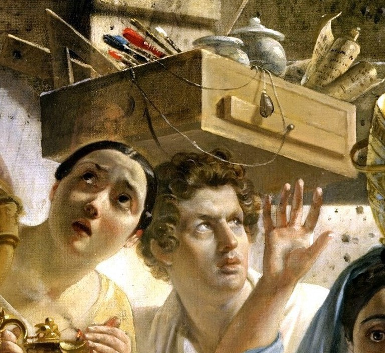 Detail of The Last Day of Pompeii showing the artist, Karl Bryullov