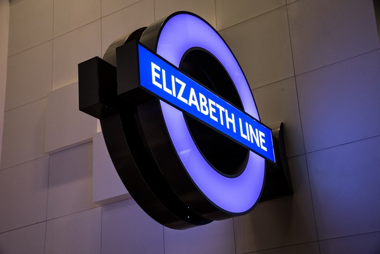 The new Elizabeth Line roundel on display in The Secret Life of a Megaproject exhibition