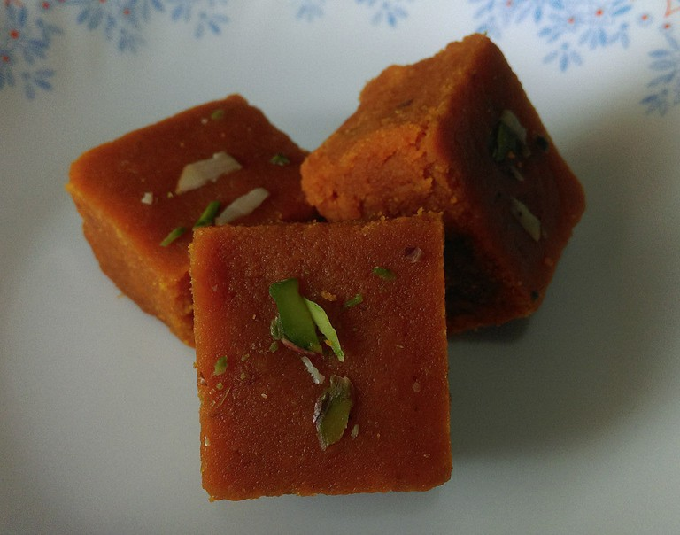 Dilkushar or Mohanthal are fudge-like blocks with chewy texture