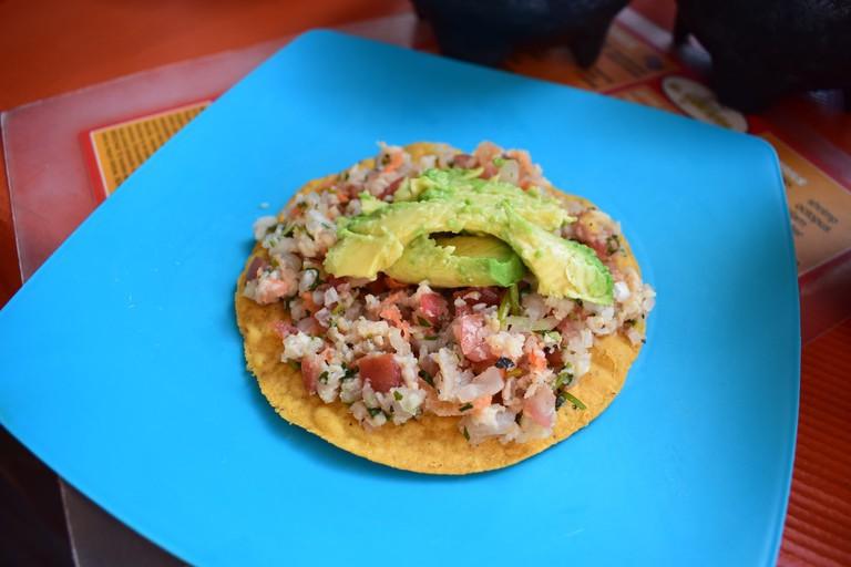Fresh Mexican ceviche in Ensenada, Baja California