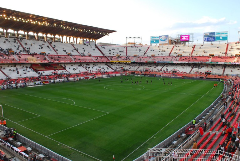 Estadio Ramón Sánchez Pizjuán, Seville. View of the grandstand and north goal
