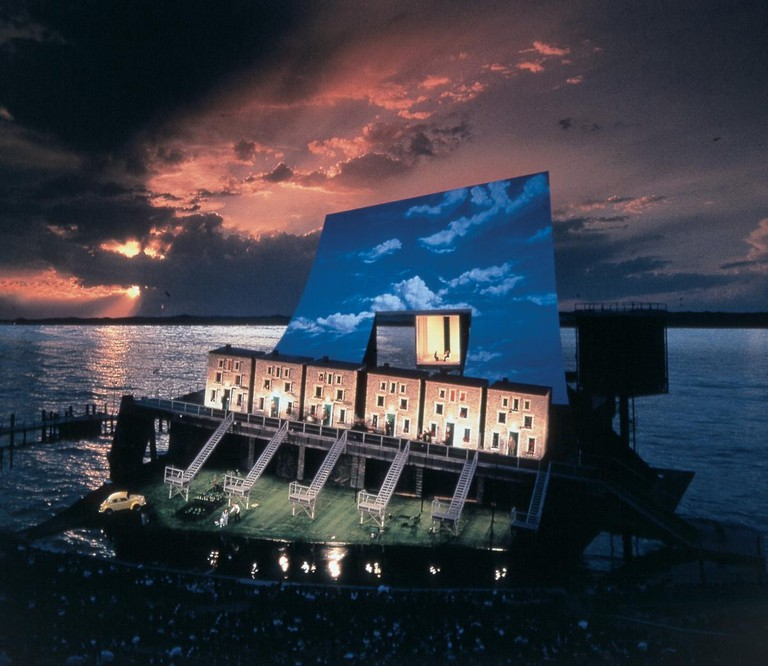 An incredible set design at sundown