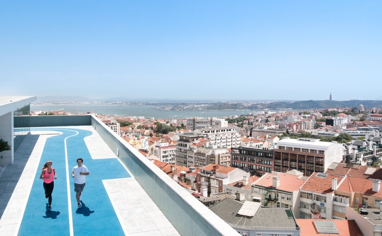 Rooftop running track at the Four Seasons Hotel Ritz Lisbon