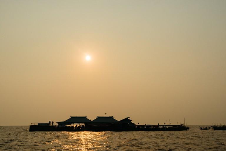 A floating platform on Tonle Sap Lake