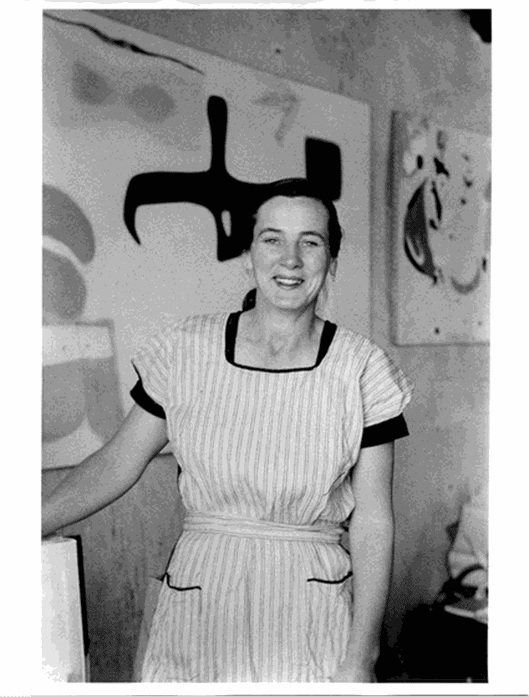 Portrait of Agnes Martin, Ledoux St. studio, Taos, 1954-1955. Courtesy of the Harwood Museum of Art, Mildred Tolbert Archive, Taos, New Mexico