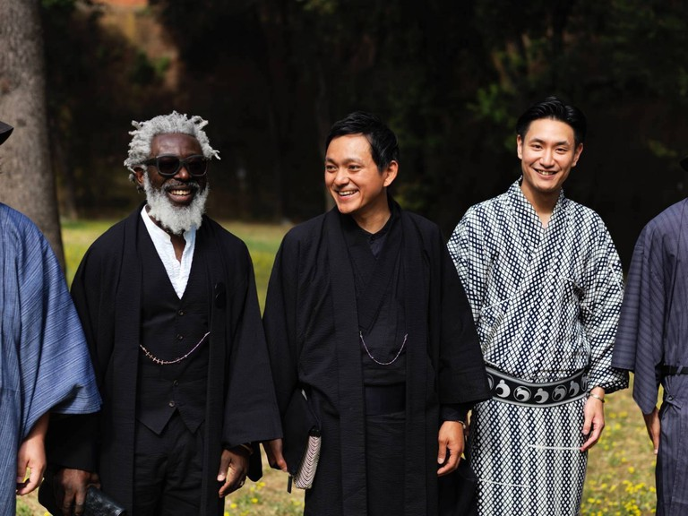 Designer T-Michael and Y. & Sons wearing the T-Kimono