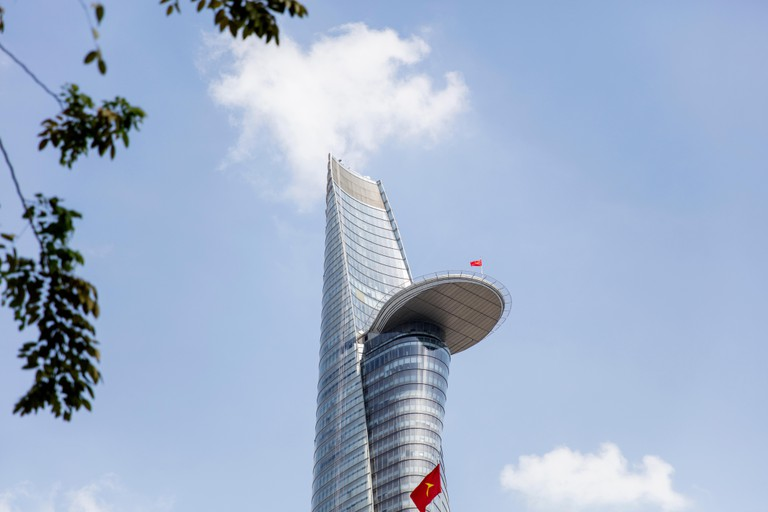 HO CHI MINH, VIETNAM - FEBRUARY 22, 2017: Bitexco Financial Tower in Ho Chi Minh, Vietnam. This 262 meter high skyscraper  was opened at 2010.