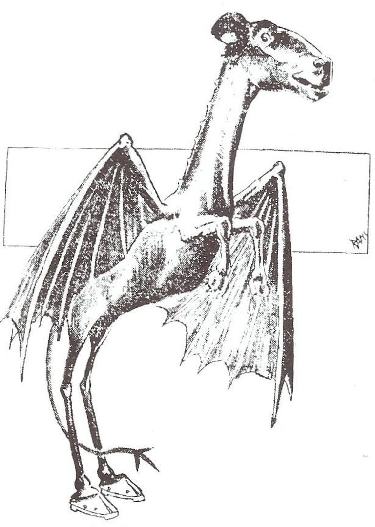 A drawing of the Jersey Devil from the Philadelphia Post, 1909