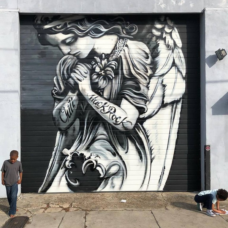 Chill Angel mural in New Orleans, Louisiana