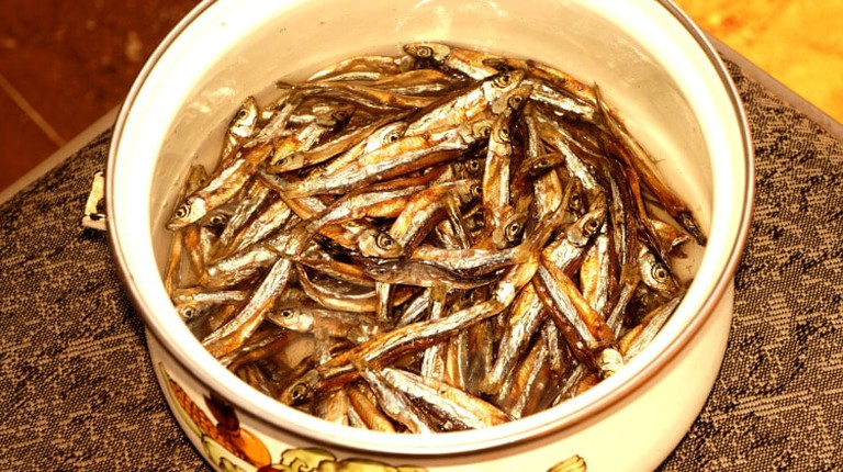 Kapenta, a sardine-like fish, is usually served as a side to nshima, Zambia's staple food