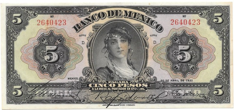 La Gitana on the back of the five-peso note in circulation 1937–1970