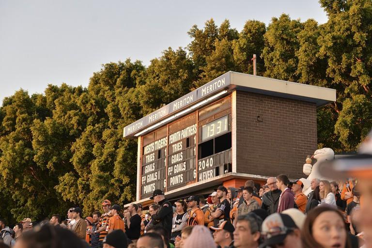 Leichhardt Oval scoreboard in Balmain © Scott Brown/Flickr