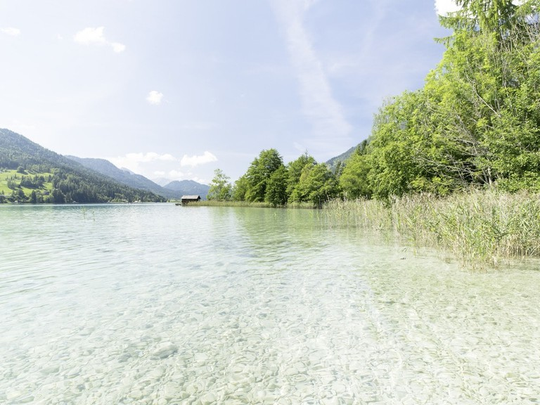 The crystal clear waters of the lake