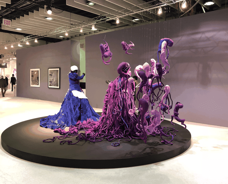 """Mary Sibande's 'Cry Havoc' (2014), presented by Gallery Momo as part of the Armory Show's """"Platform"""" series. Photo by Christine Lee"""