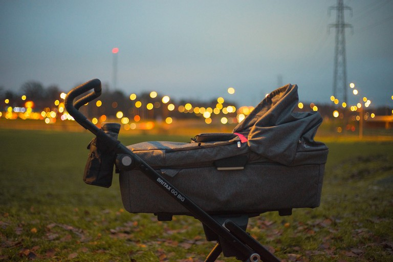 A baby stroller outside in Stockholm