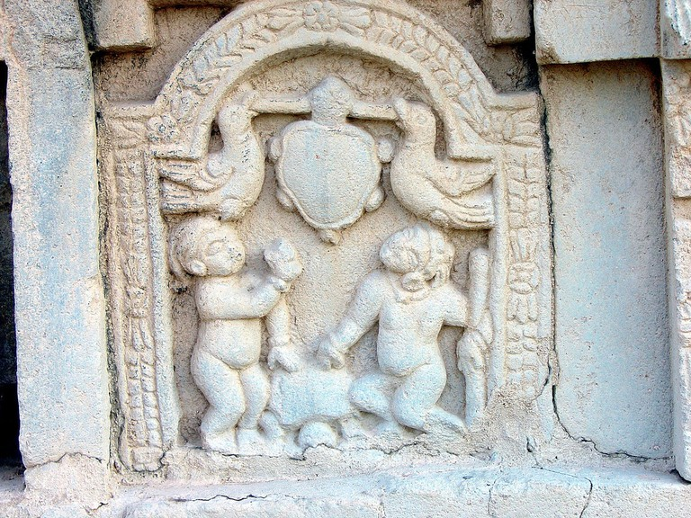 Tales from Panchatantra carved on the walls of Nalanda Temple, Bihar