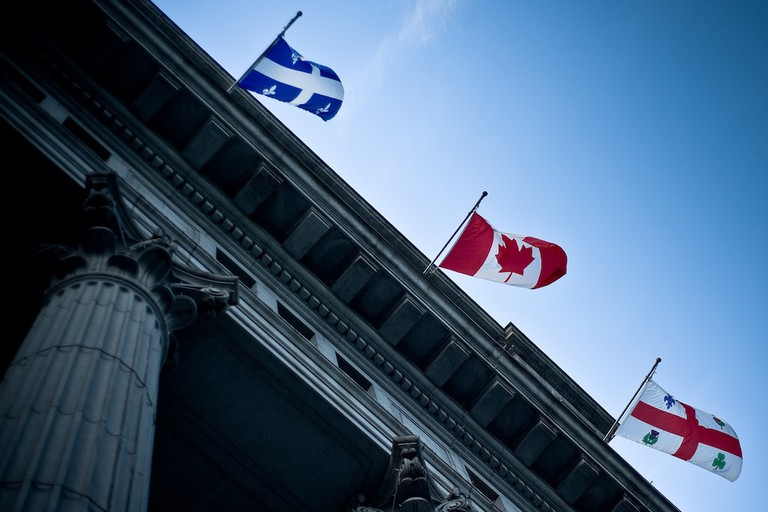 Flags of Quebec, Canada, and Montreal