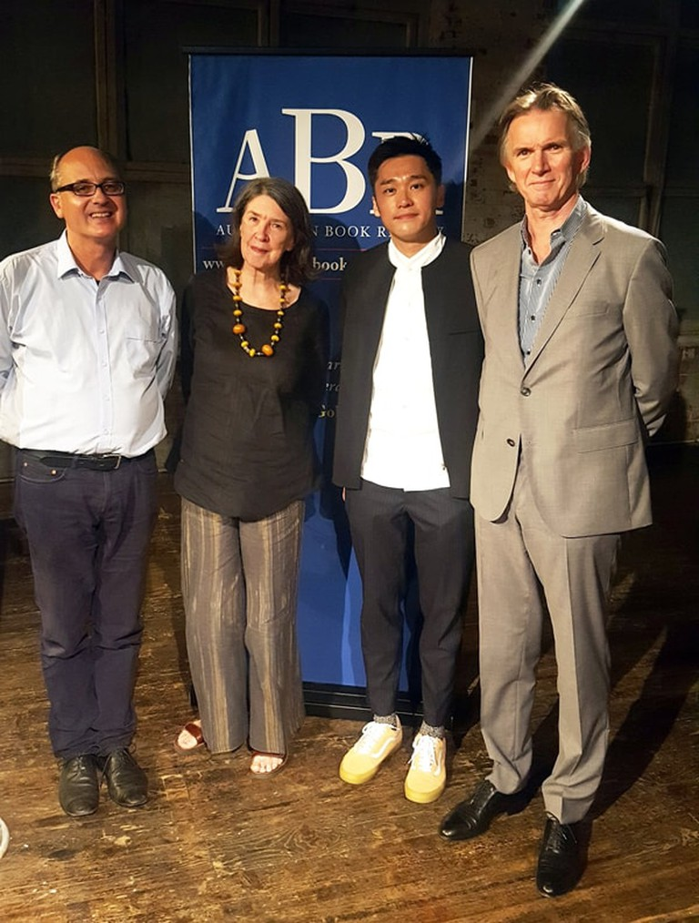 Nicholas Wong pictured with judges of the 2018 Peter Porter Poetry Prize