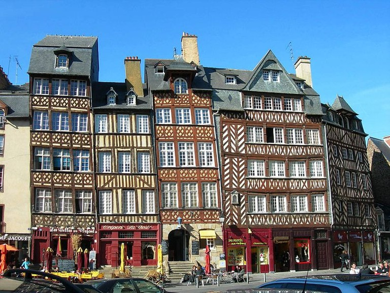 Timbered houses in the Old Town of Brittany's capital, Rennes