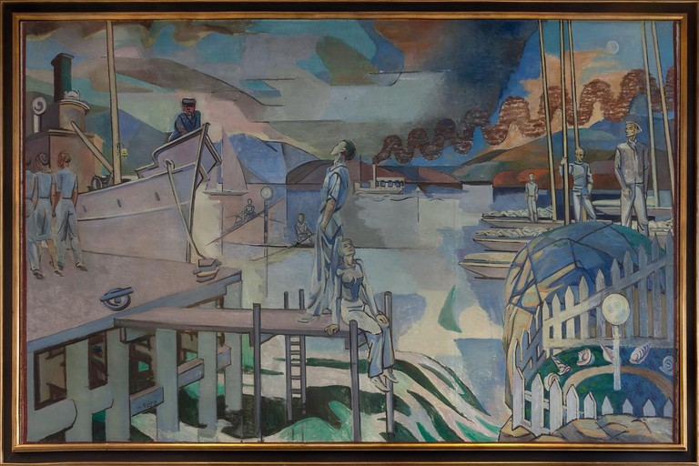 Oslo Harbour by Per Krohg, one of the artworks exhibited in Det felles eide