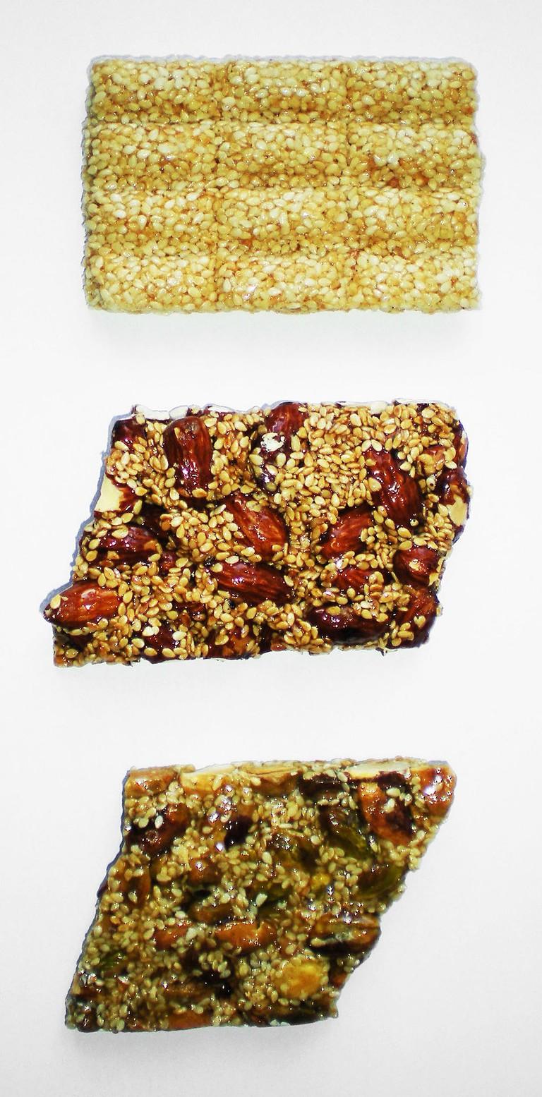 Pasteli bars (1. sesame seeds, 2. almonds, 3. pistachios)