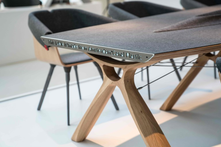Plastic Whale also makes office furniture out of recycled plastic