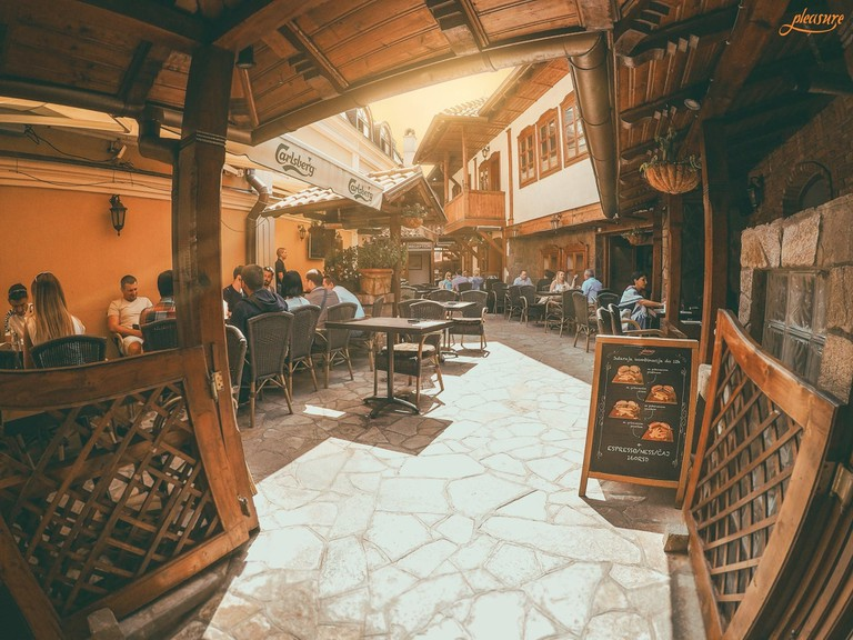 The sunny terrace at Pleasure Cafe in Niš