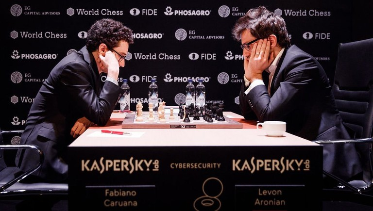 Fabiano Caruana (left) vs. Levon Aronian