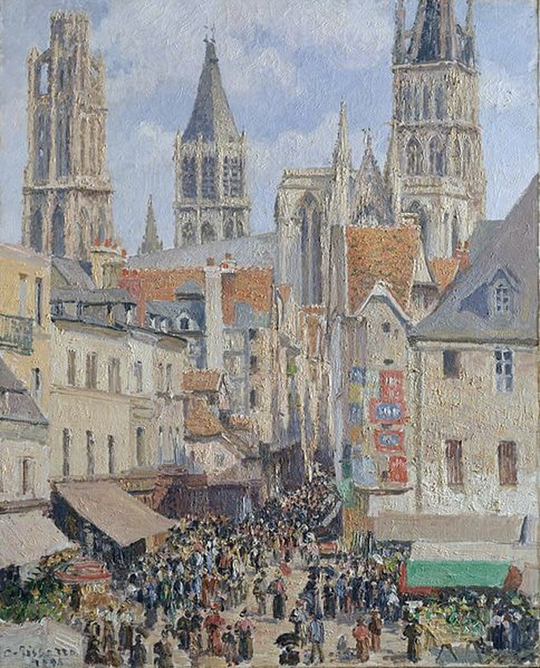 This version of Rue de l'Épicerie, Rouen by Camille Pissarro shows the busy market street on a sunny day