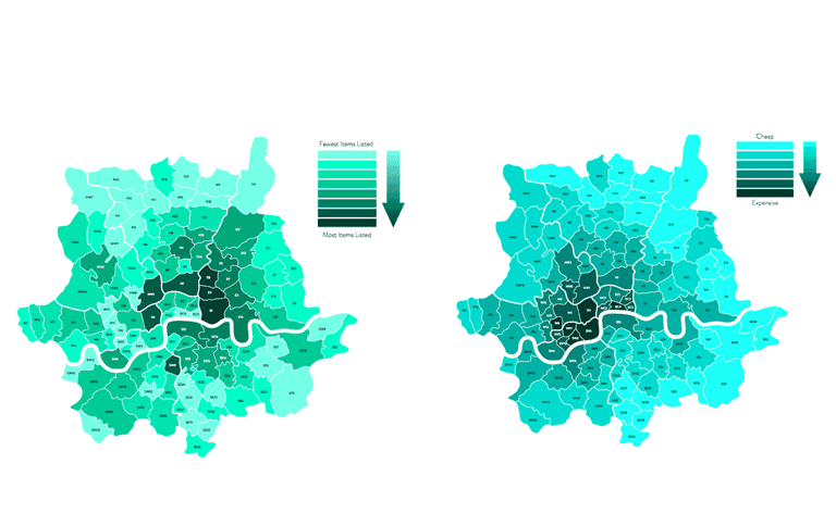 Maps plotting London's creative hot spots (left) to London property values (right) demonstrate how west London's high property prices and a lack of creative and co-working spaces drained the area of creative talent