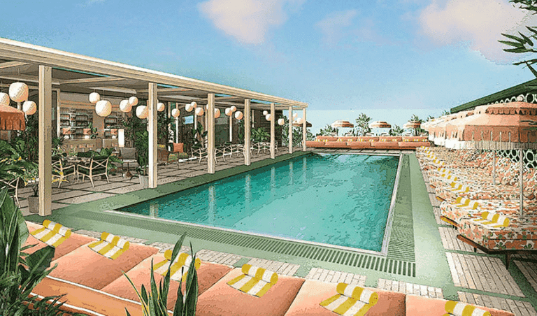 The rooftop pool at White City House
