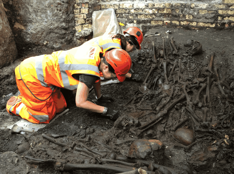 Mass burial uncovered at the Crossrail Liverpool Street site