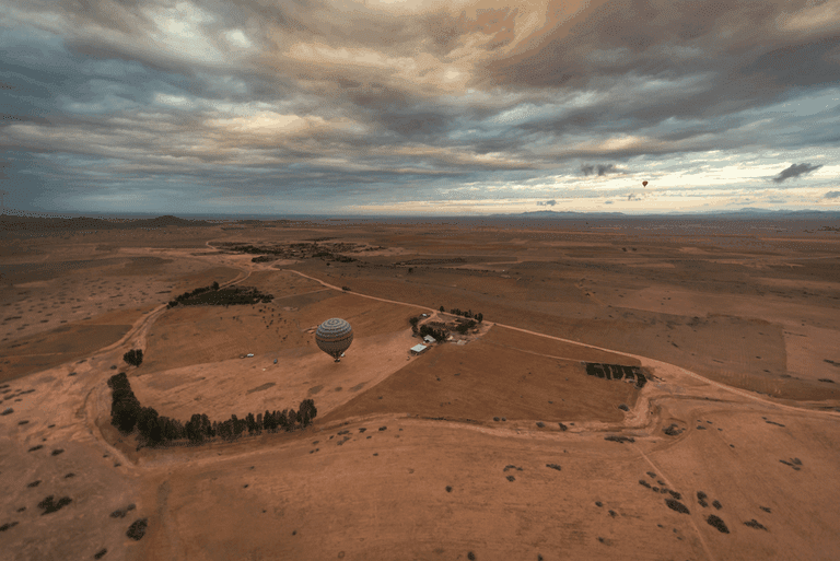 Landing of a hot air balloon in Marrakesh