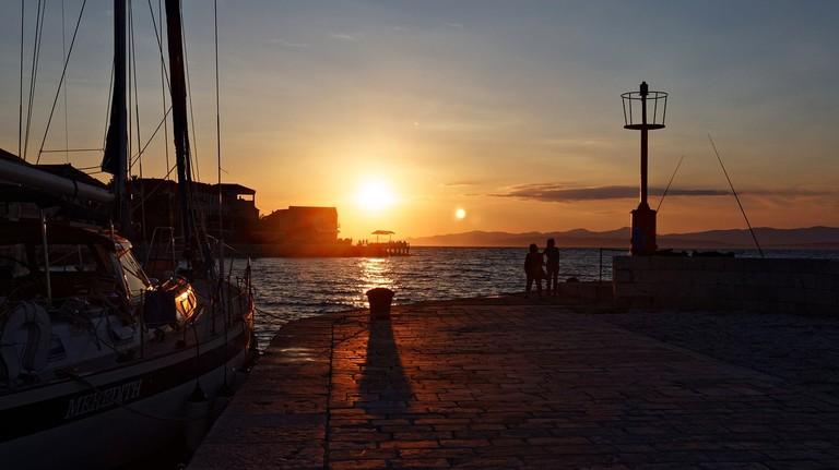The port of Hvar at sunset