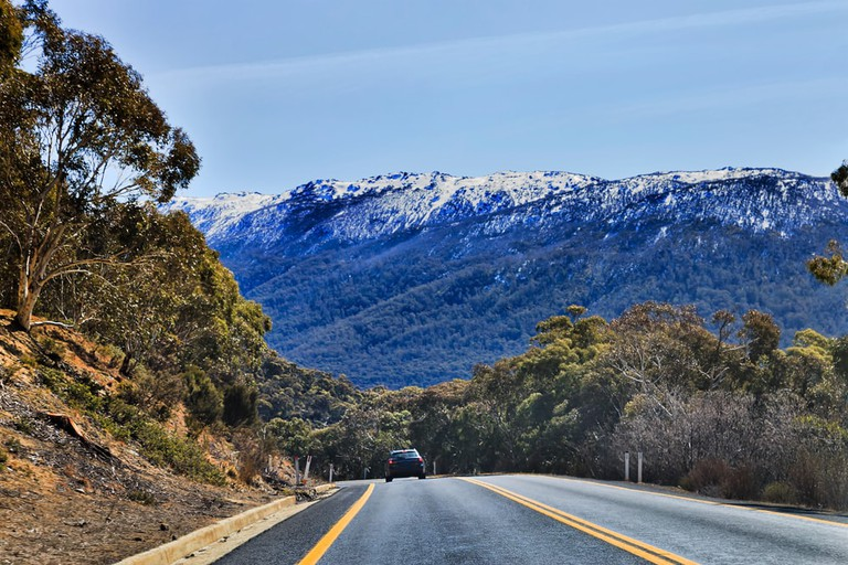 Winding Thredbo road in Snowy mountains national park, Australia
