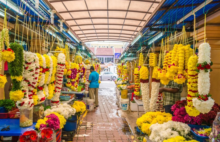 Colourful Indian flower garlands in the markets of Little India